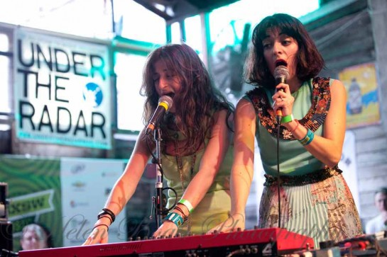Cristi Jo and Jessica Zambri of Zambri perform live at Flemingo Cantina in Austin Texas for SXSW Festival